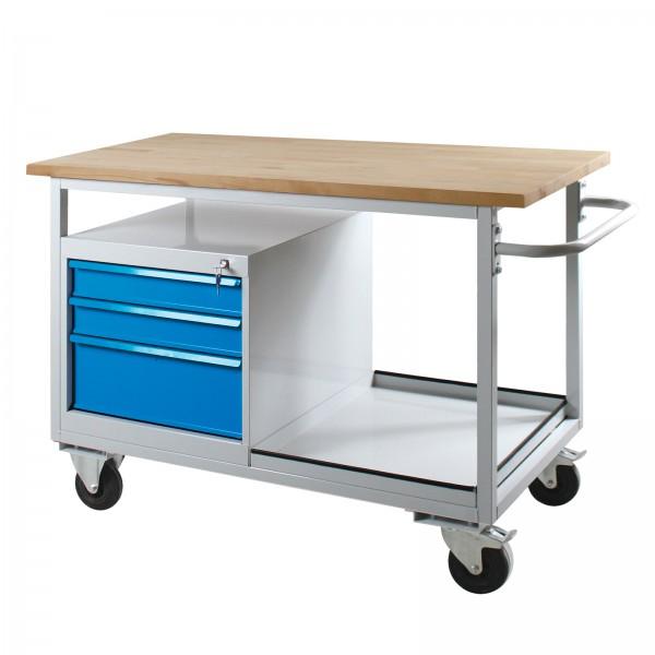 Tischwagen Eko mit 3 Schubladen, RAL7035/5012