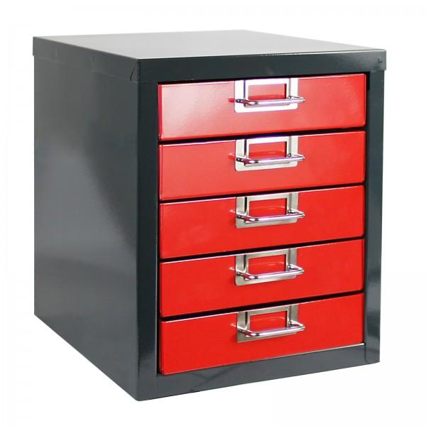 ADB Schubladenbox mit 5 Schubladen, Anthrazitgrau/Feuerrot