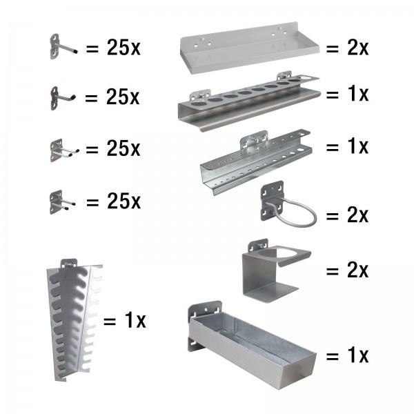 ADB Hakensatz/Werkzeughalter, 110 tlg., RAL 9006