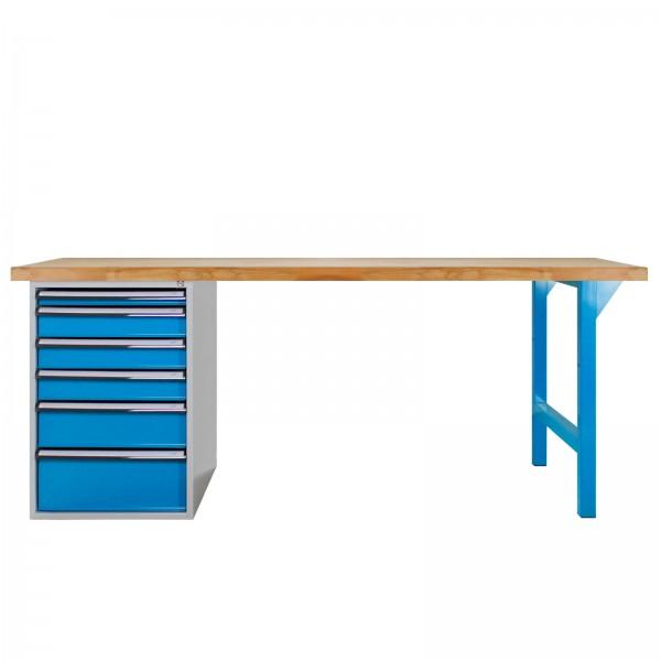 Werkbank PROFI 1500, 6 Schubladen, Lichtblau, Höhe 850 mm