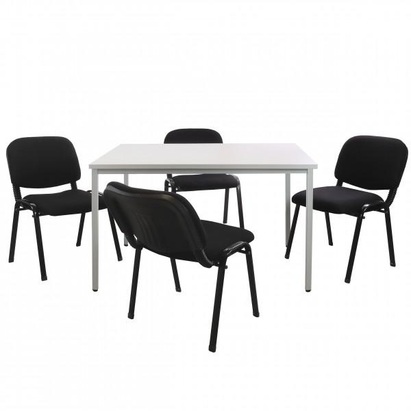 Vorteilspreis - Set Stahlrohrtisch (L 1200 mm) inkl. 4 Besucherstühle
