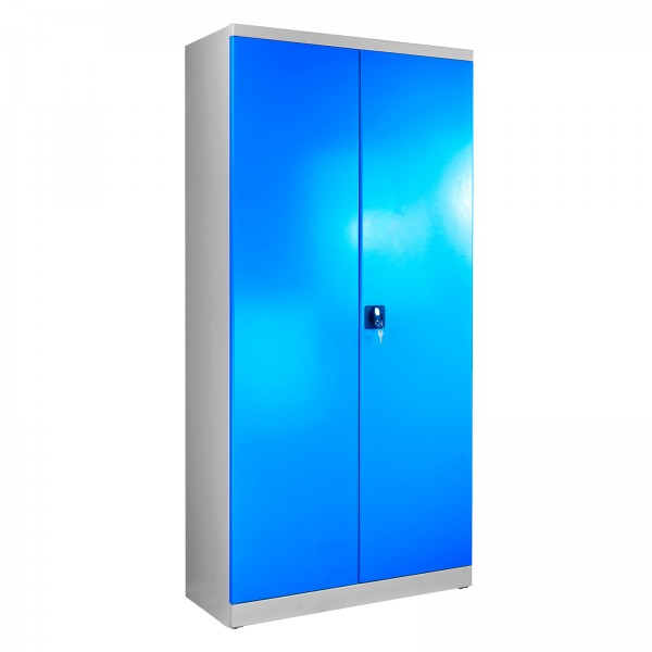 Flügeltürschrank, Tiefe 400 mm, Grau/Blau