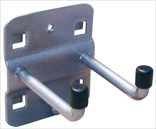 Werkzeughalter, Länge 75 mm, doppelt, senkrechtes Hakenende
