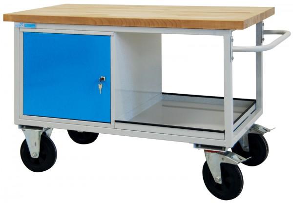 Tischwagen,RAL7035/5012,1 Stahlblechschr.+1 FB