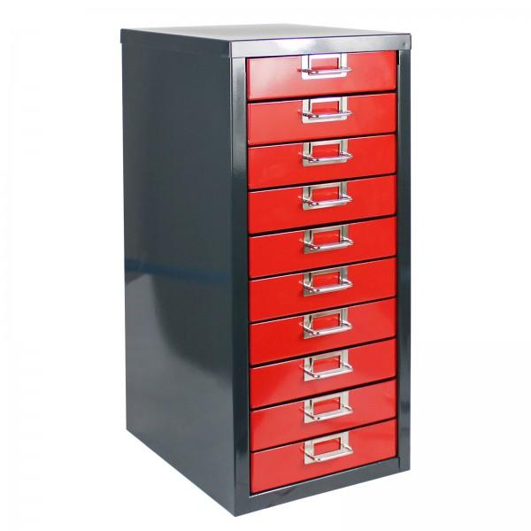 ADB Schubladenbox mit 10 Schubladen, Anthrazitgrau/Feuerrot