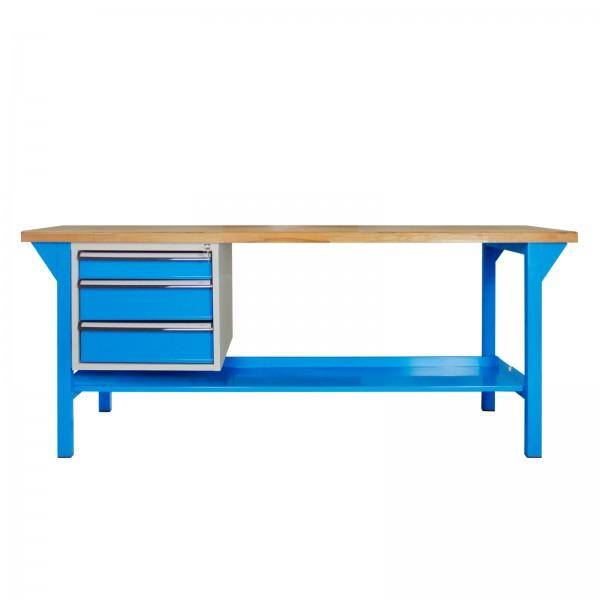 Werkbank PROFI 1500, 3 Schubladen, Lichtblau, Höhe 850 mm