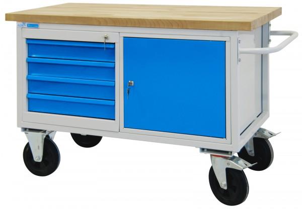 ADB mobile Werkbank / Werkstattwagen 827x1300x600 mm 4 Schubladen + 1 Stahlblechschrank