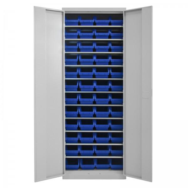 ADB Werkzeugschrank mit 11 Fachböden und 48 Sichtlagerkästen blau