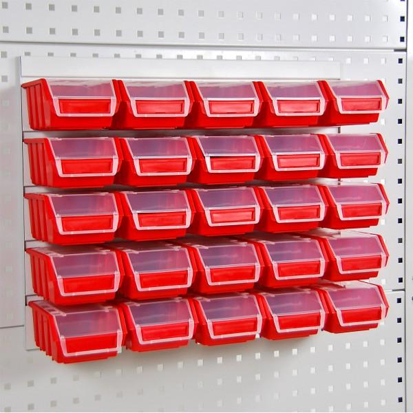 Werkzeugwand Schlitzplatte inkl. 25 Lagersichtkästen mit Deckel