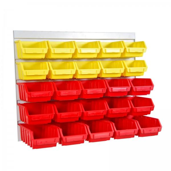 Werkzeugwand Schlitzplatte mit 10 gelben + 15 roten Lagersichtkästen